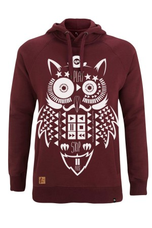 Sudadera Capucha NUM wear OWL color Burgundy