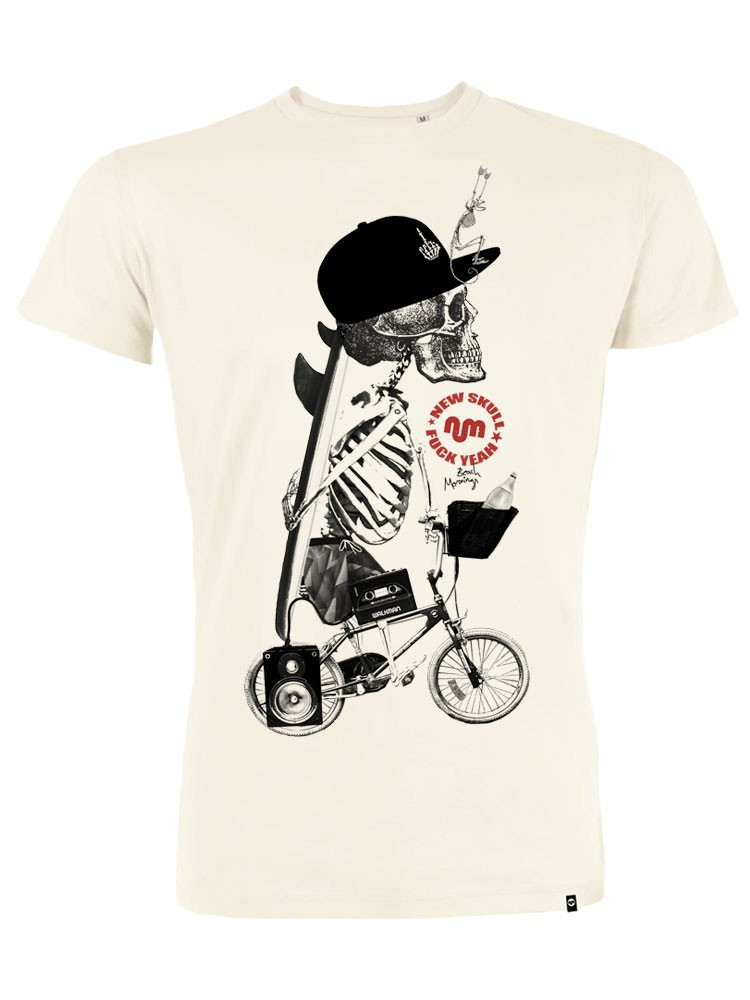 Camiseta hombre NUM wear NEW SKULL color Vintage White