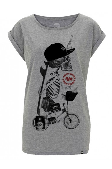 camiseta NUM wear NEW SKULL mujer color Heather Grey
